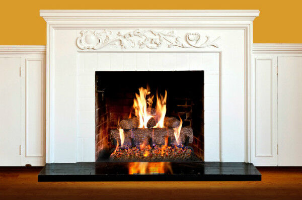 White Fireplace with Real Fyre Gas Logs