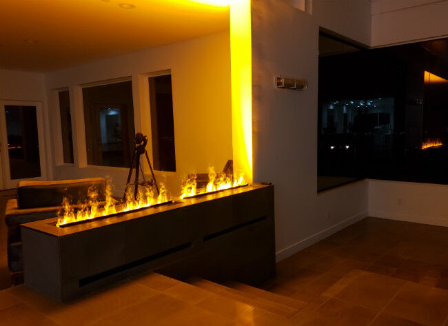 OptiMyst fireplace in a dark living room