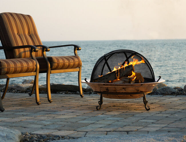 Wood Burning Fire Pit at Sunset