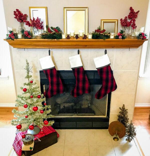 Cranberry & Pine Christmas Mantel