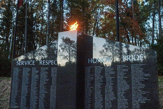 Close-up of the eternal burning flame in a gray granite veteran memorial