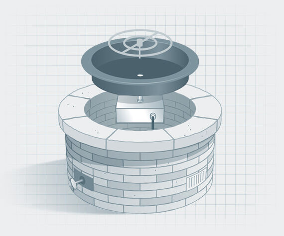 illustration of disassembled gas fire pit showing parts