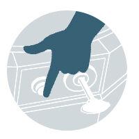 hand pressing control knob illustration