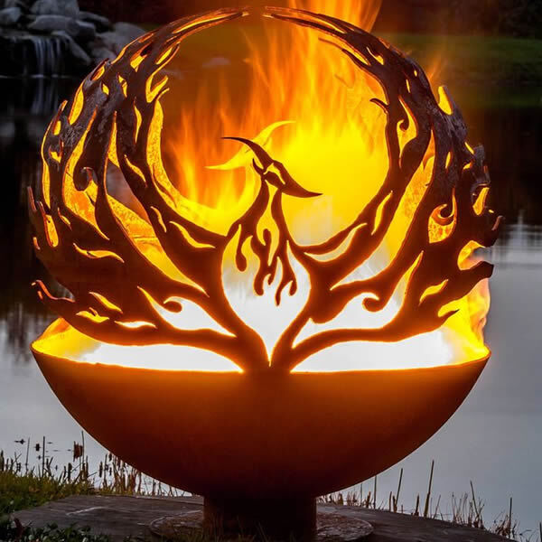 Fire Pit with Phoenix Cutout