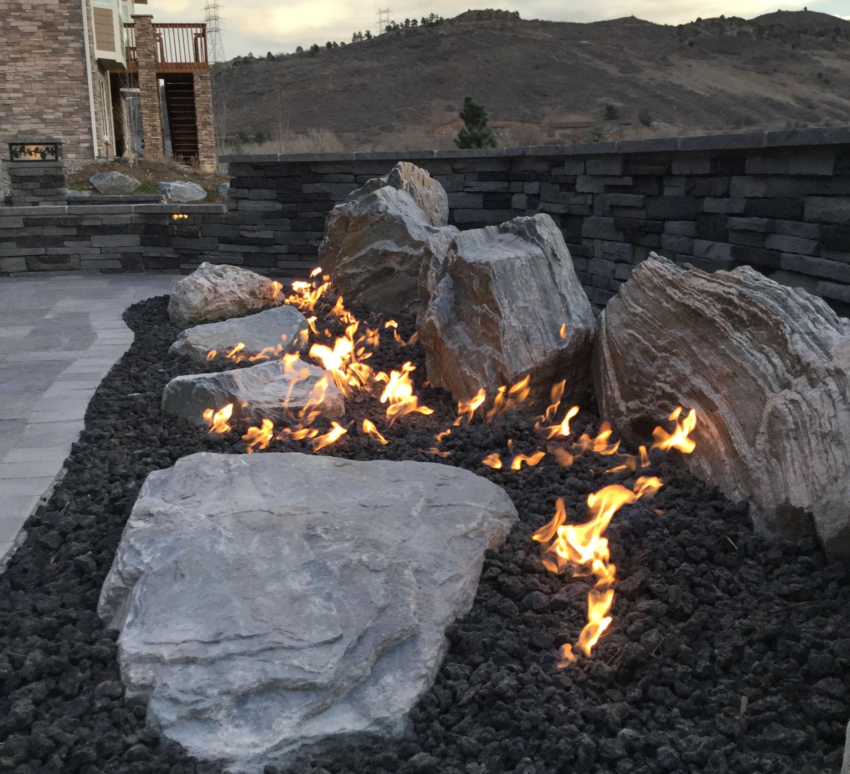 Boulder Garden with Fire