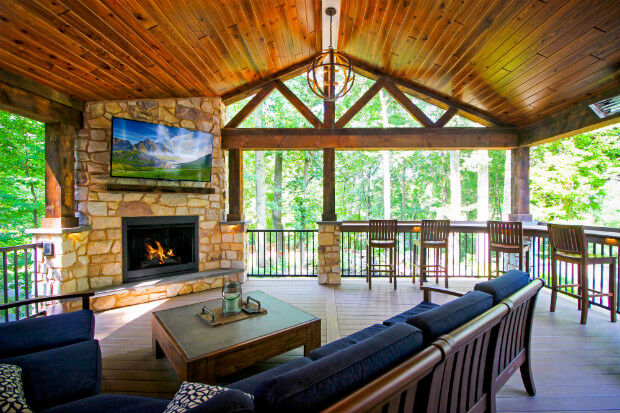 View of Outdoor Fireplace & Living Room