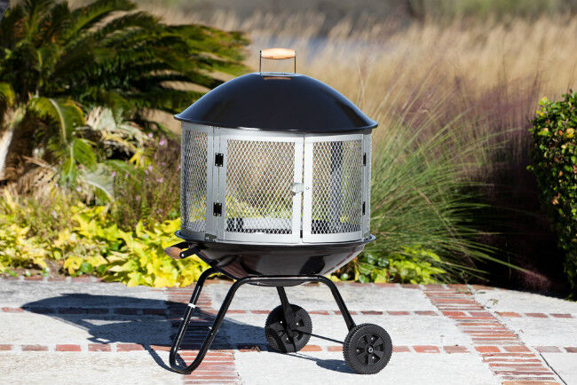 Fire Pit with Wheels and Grill