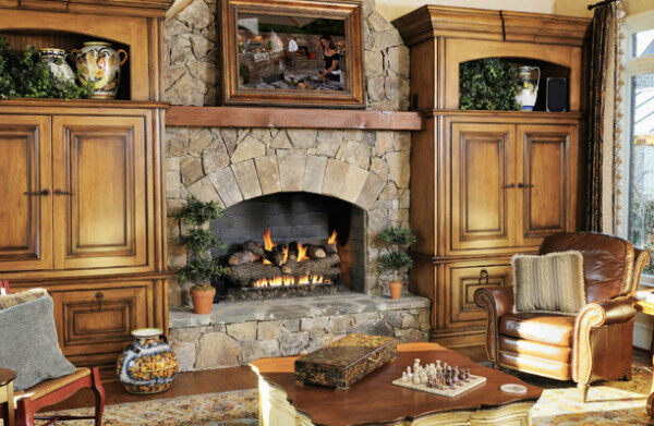 Rustic Stone Fireplace with Real Fyre Gas Logs