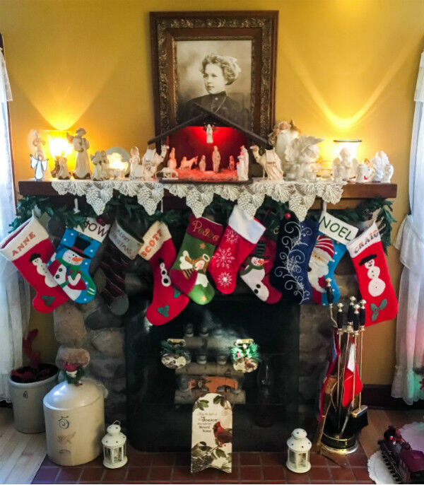 Christmas Mantel with Nativity Scene